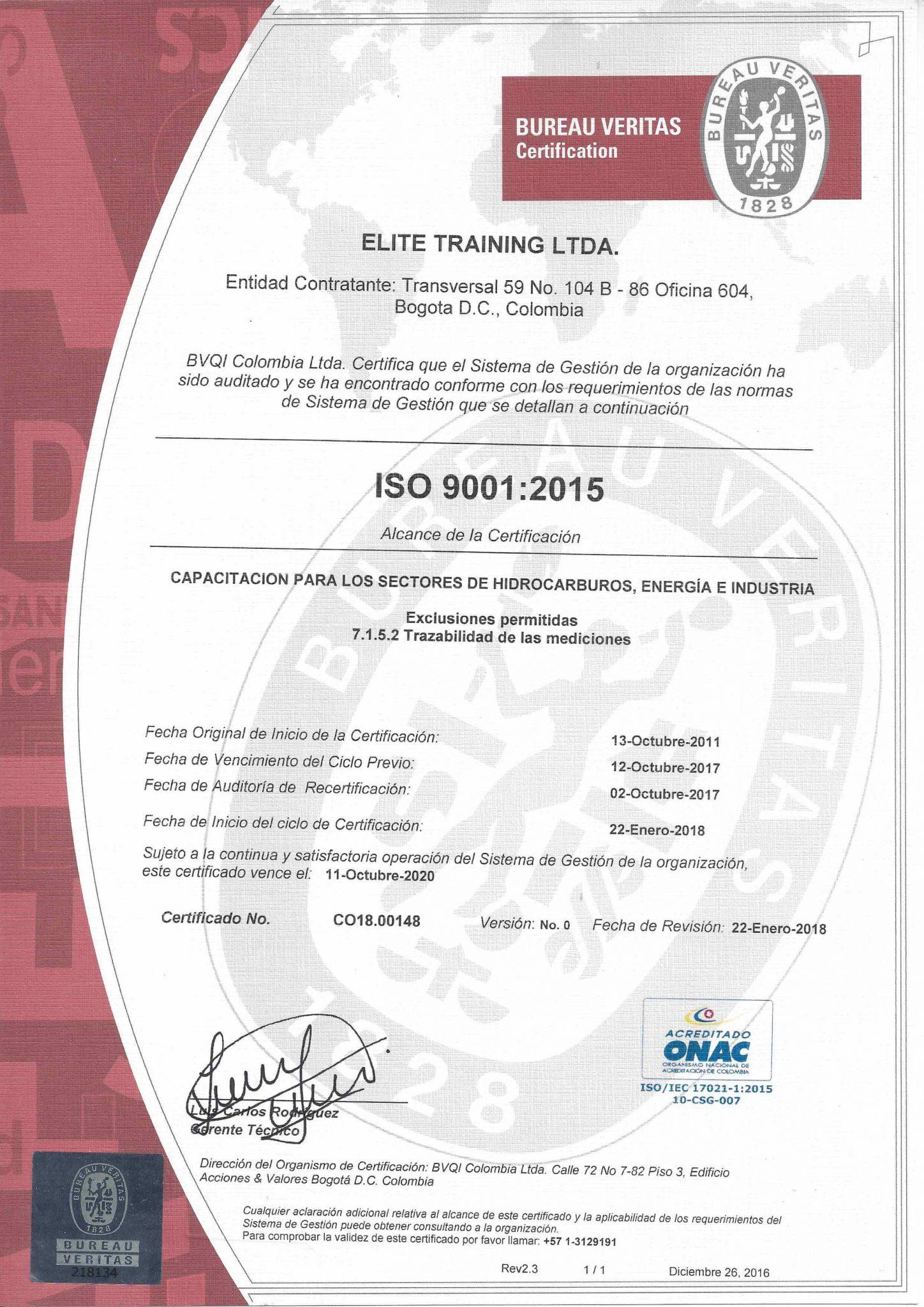 Certificación ISO 9001 - Elite Training